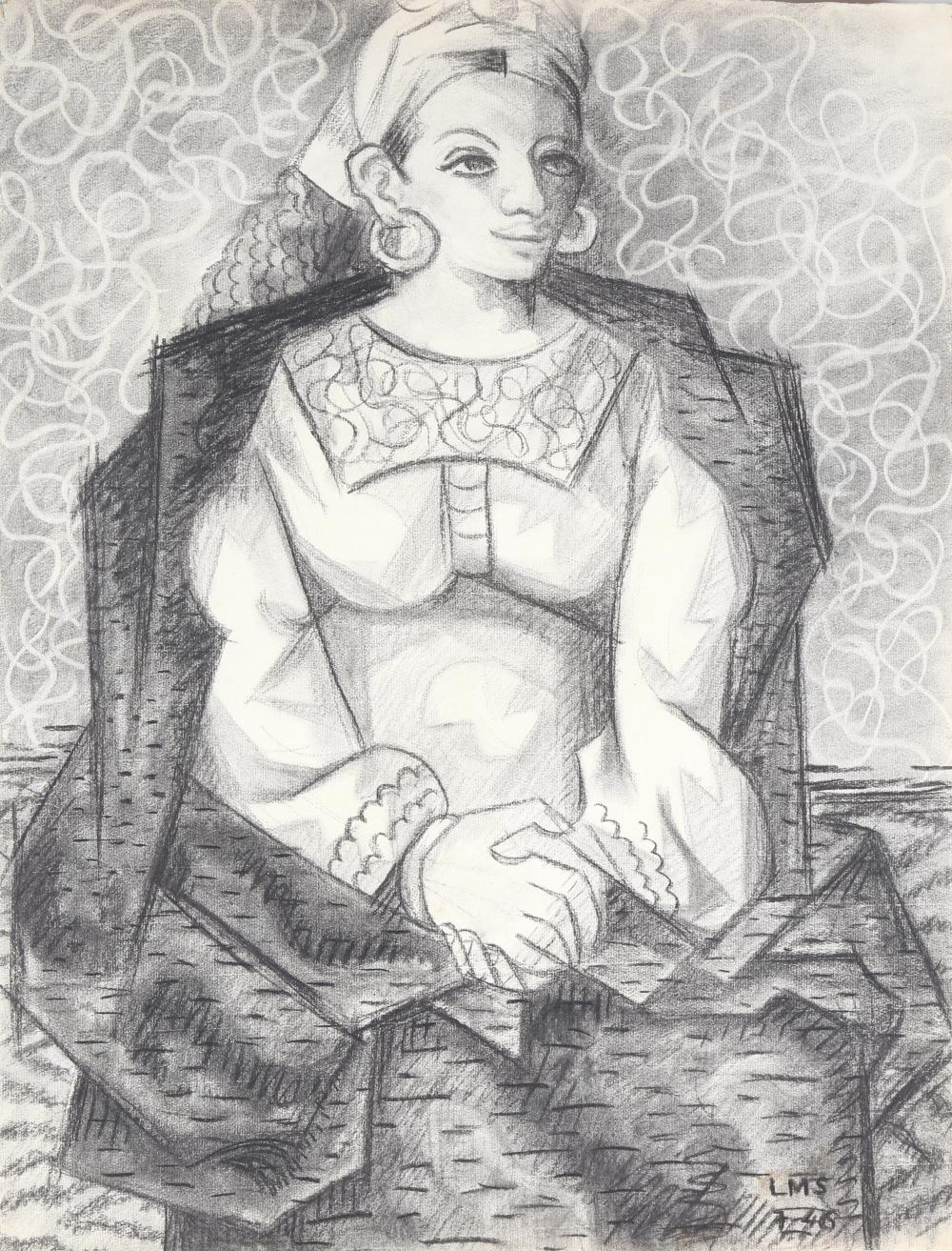 Laurent Marcel Salinas, Egyptian Woman in Purple (Study) 320, Charcoal Drawing