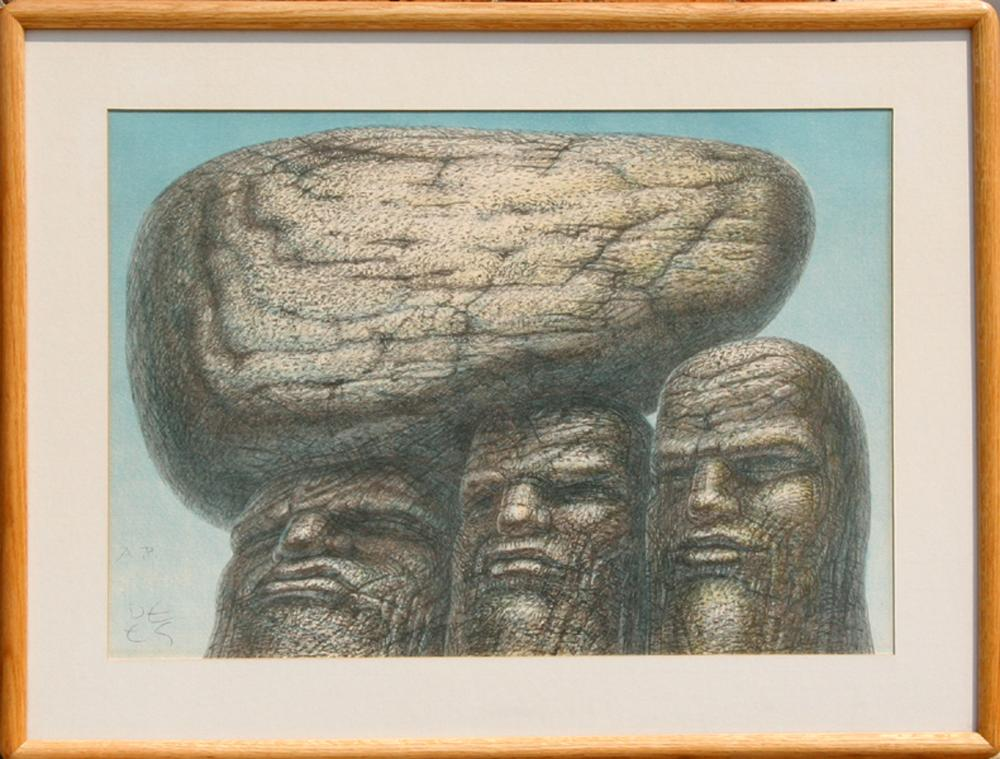 De Es Schwertberger, Three Heads, Lithograph