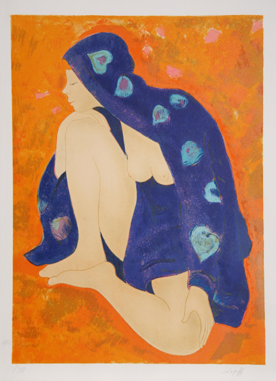 Alain Bonnefoit, Nude in Purple Robe, Lithograph