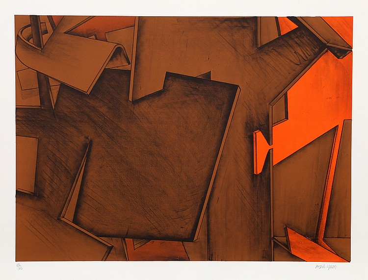 Jasha Green, Cubist Red Abstract Lithograph