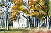 James Feriola, Autumn with Church and Portrait, Two-Sided Watercolor, James Philip Feriola, Click for value