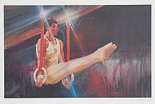 Robert Peak, Still Rings from the Visions of Gold Olympic Portfolio, Lithograph