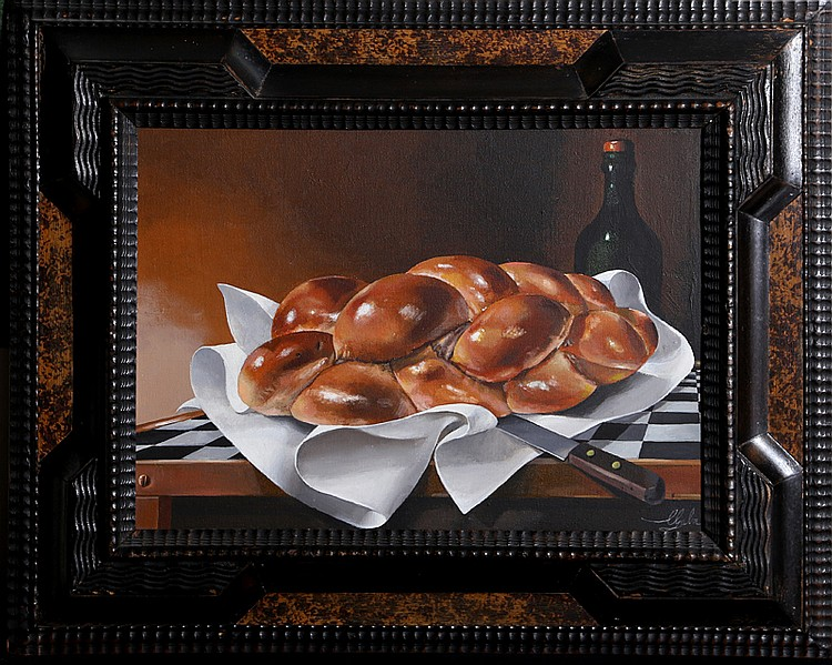 A. Lester Gaba, Fresh Challah Bread, Oil Painting