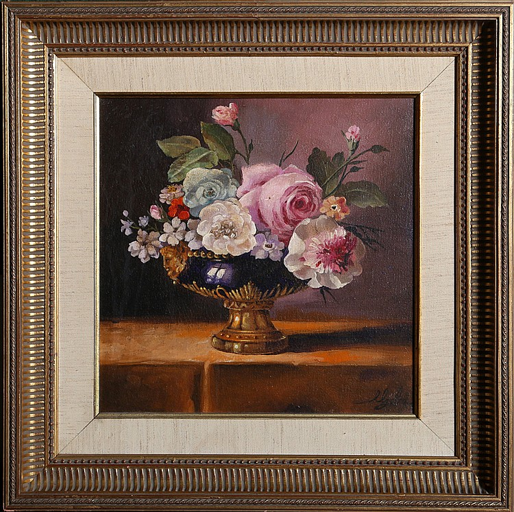 A. Lester Gaba, Floral Arrangement, Oil Painting