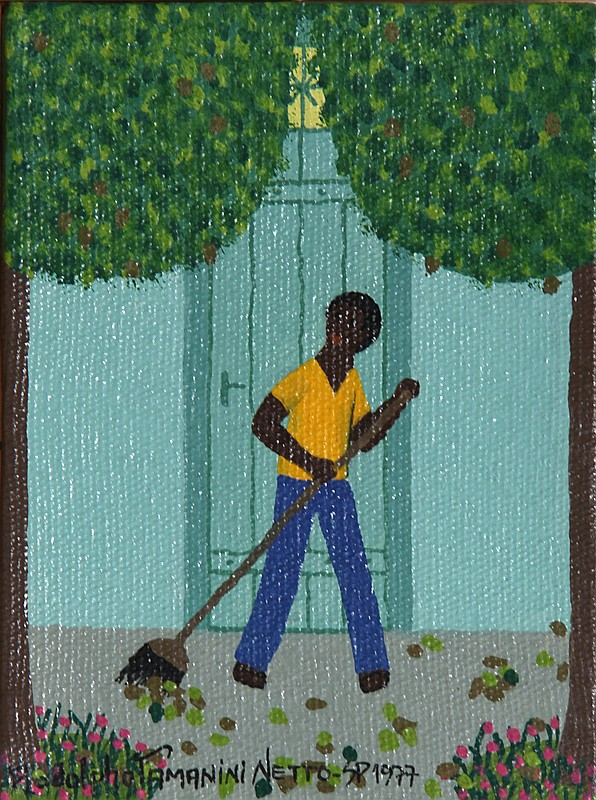 Rodolpho Tamanini Netto, 10 - Man Raking Leaves, Oil Painting