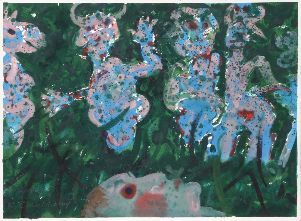 Robert Beauchamp, Figures in the Grass, Gouache Painting