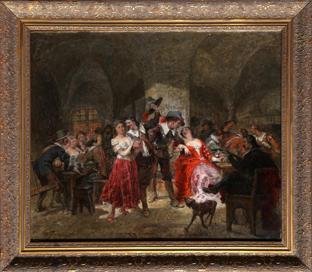 Wilfrid Constant Beauquesne, Men Fraternizing with the Ladies, Oil Painting