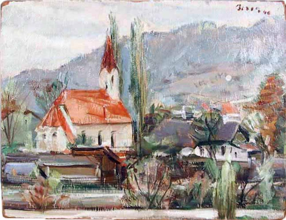 Dimitrie Berea, The Church in a Small Village, Oil Painting