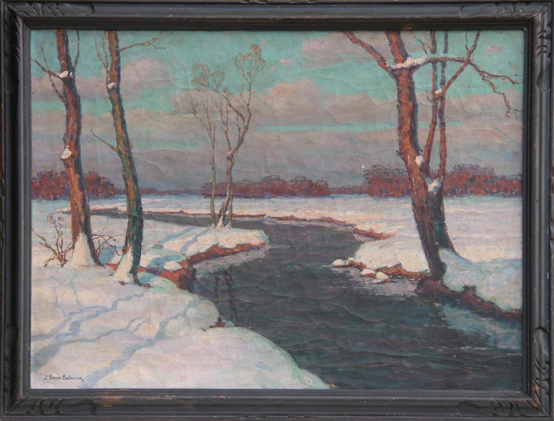 Jean-Jacques Berne-Bellecour, Snowy River Landscape, Oil Painting