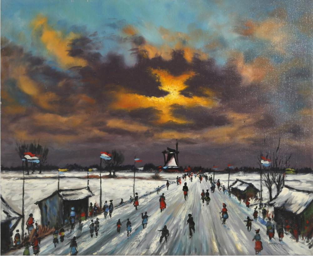 Candice Bergen, Snowy Landscape, Oil Painting on Wood