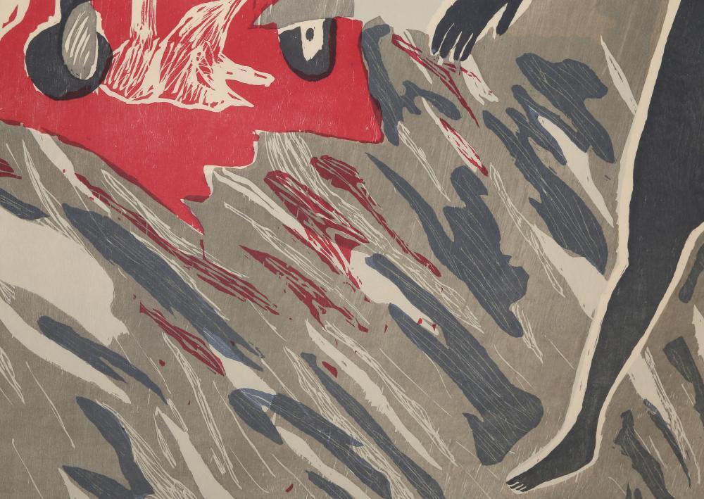 Richard Bosman, Car Crash, Woodcut