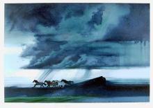 Robert Peak, Pele (Horses Gallop), Lithograph, Pele Autographed