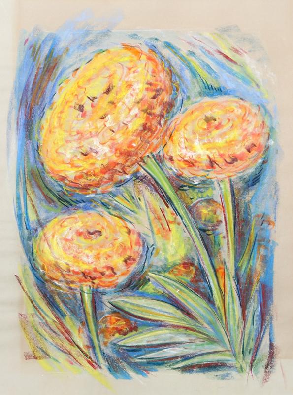 Charles Blaze Vukovich, Golden Flowers, Pastel Drawing