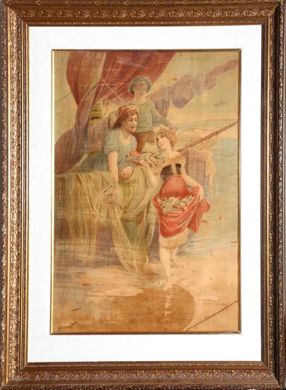 Alphonse Mucha, Peche, Chromolithograph on Canvas