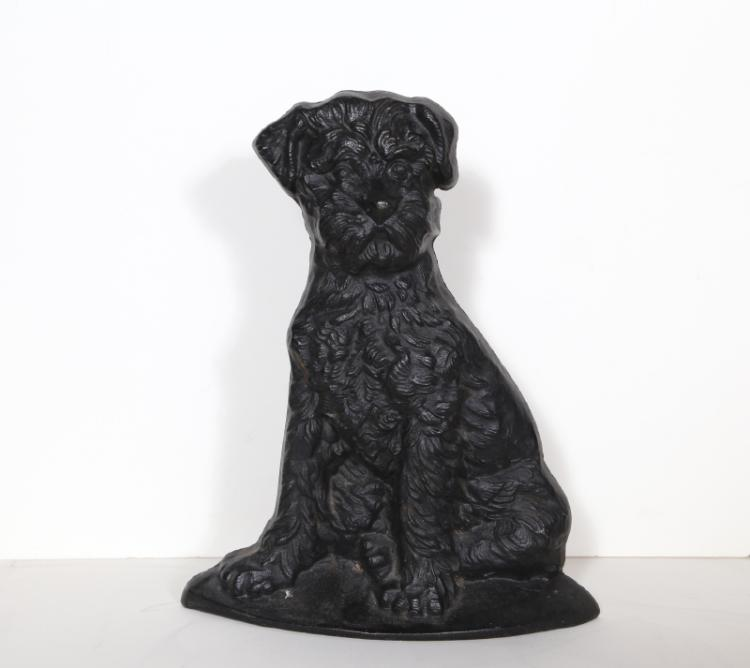 Curly Dog, Cast Iron Doorstop Sculpture