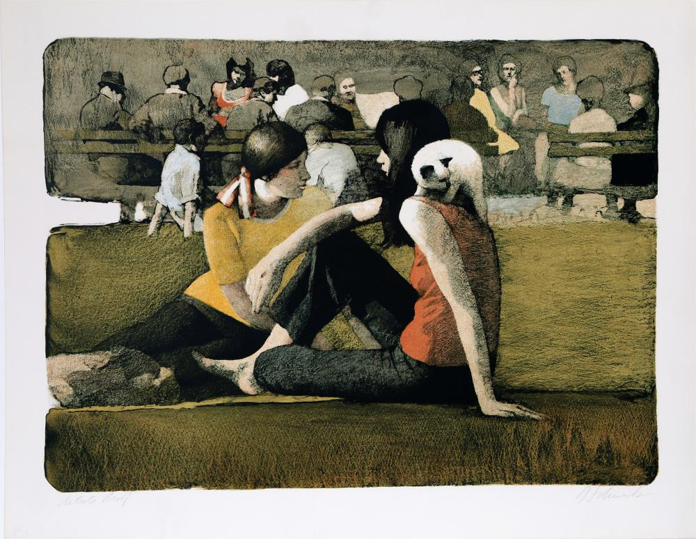 DANIEL BENNETT SCHWARTZ, TWO GIRLS IN THE PARK WITH CAT, LITHOGRAPH