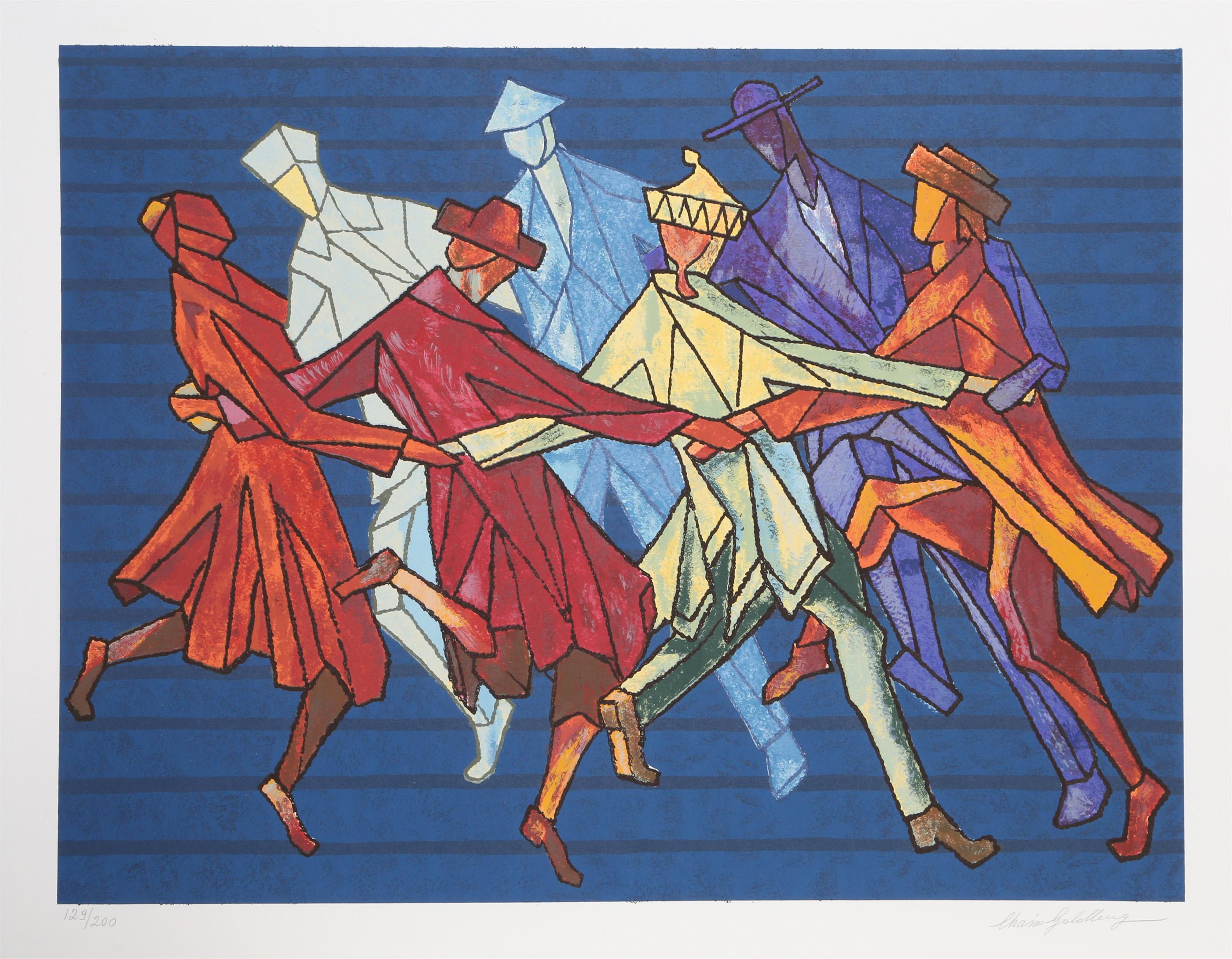 CHAIM GOLDBERG, THE HORAH DANCE, LITHOGRAPH ON ARCHES PAPER