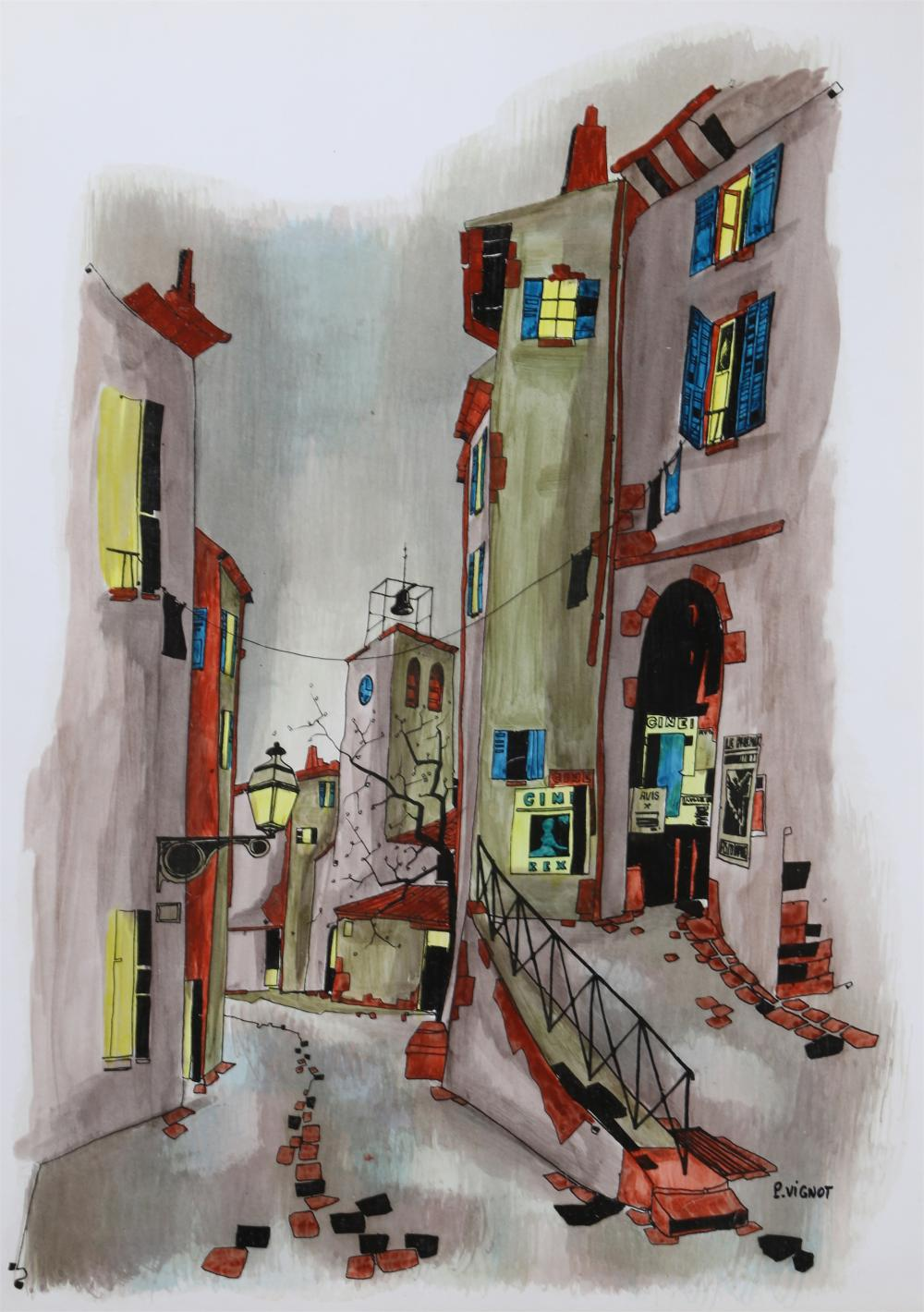 VIGNOT, GRAY CITYSCAPE, GOUACHE WITH GLAZE