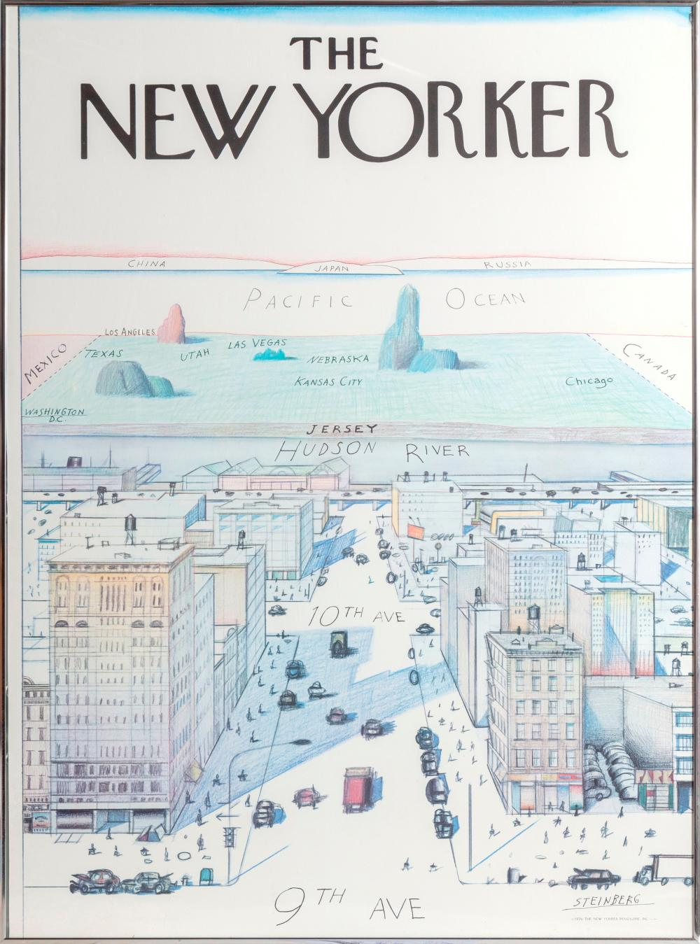SAUL STEINBERG, VIEW OF THE WORLD FROM 9TH AVENUE - THE NEW YORKER, POSTER, MOUNTED ON BOARD