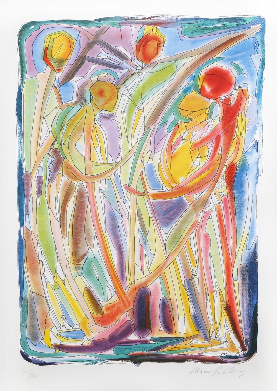 CHAIM GOLDBERG, DANCERS, LITHOGRAPH
