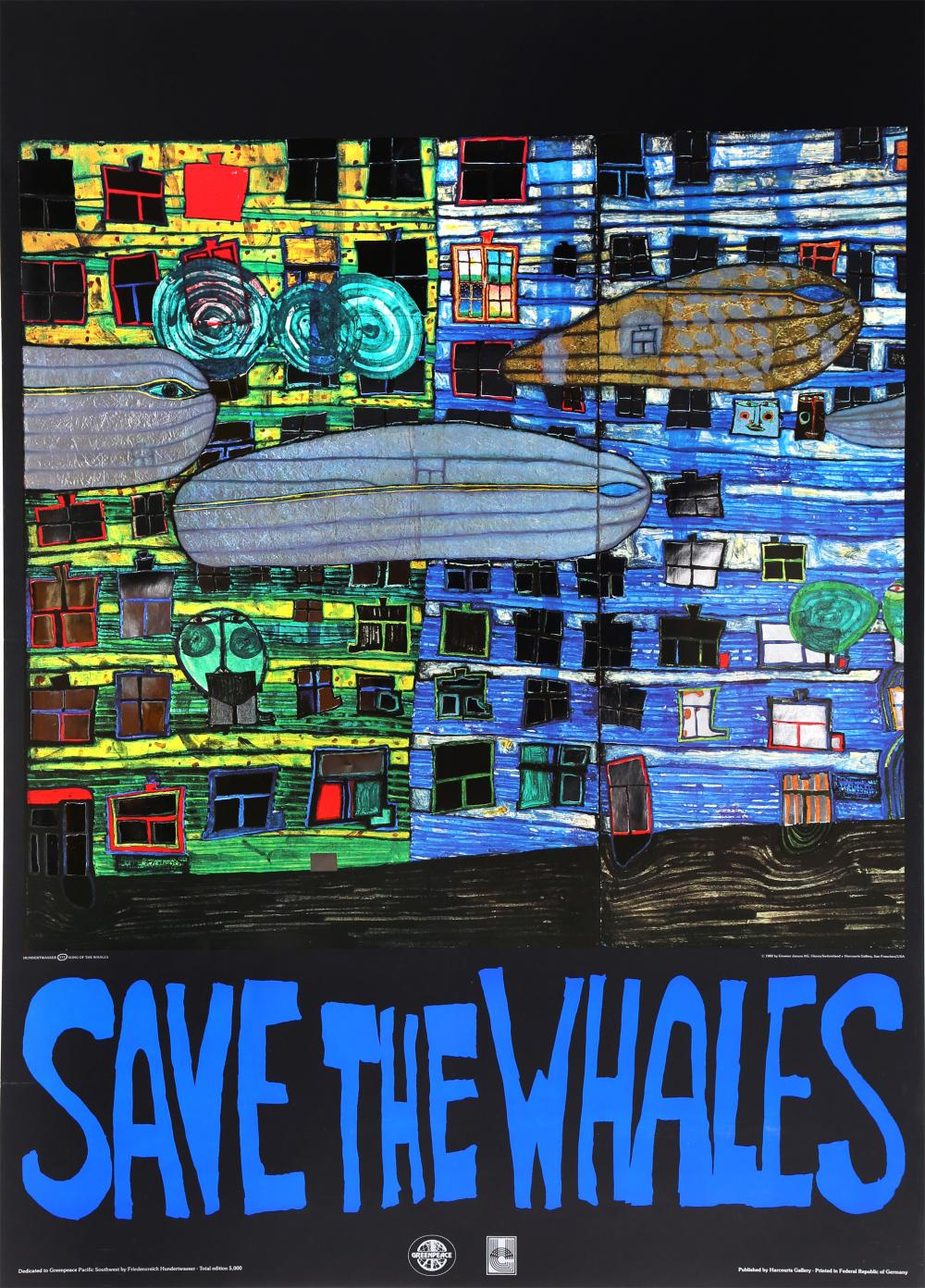 FRIEDENSREICH HUNDERTWASSER, SAVE THE WHALES, OFFSET PRINT WITH FOIL EMBOSSING