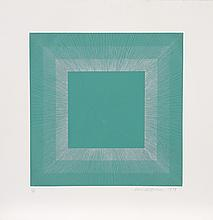 Richard Anuszkiewicz, Green with Silver, Op-Art Intaglio Aquatint Etching
