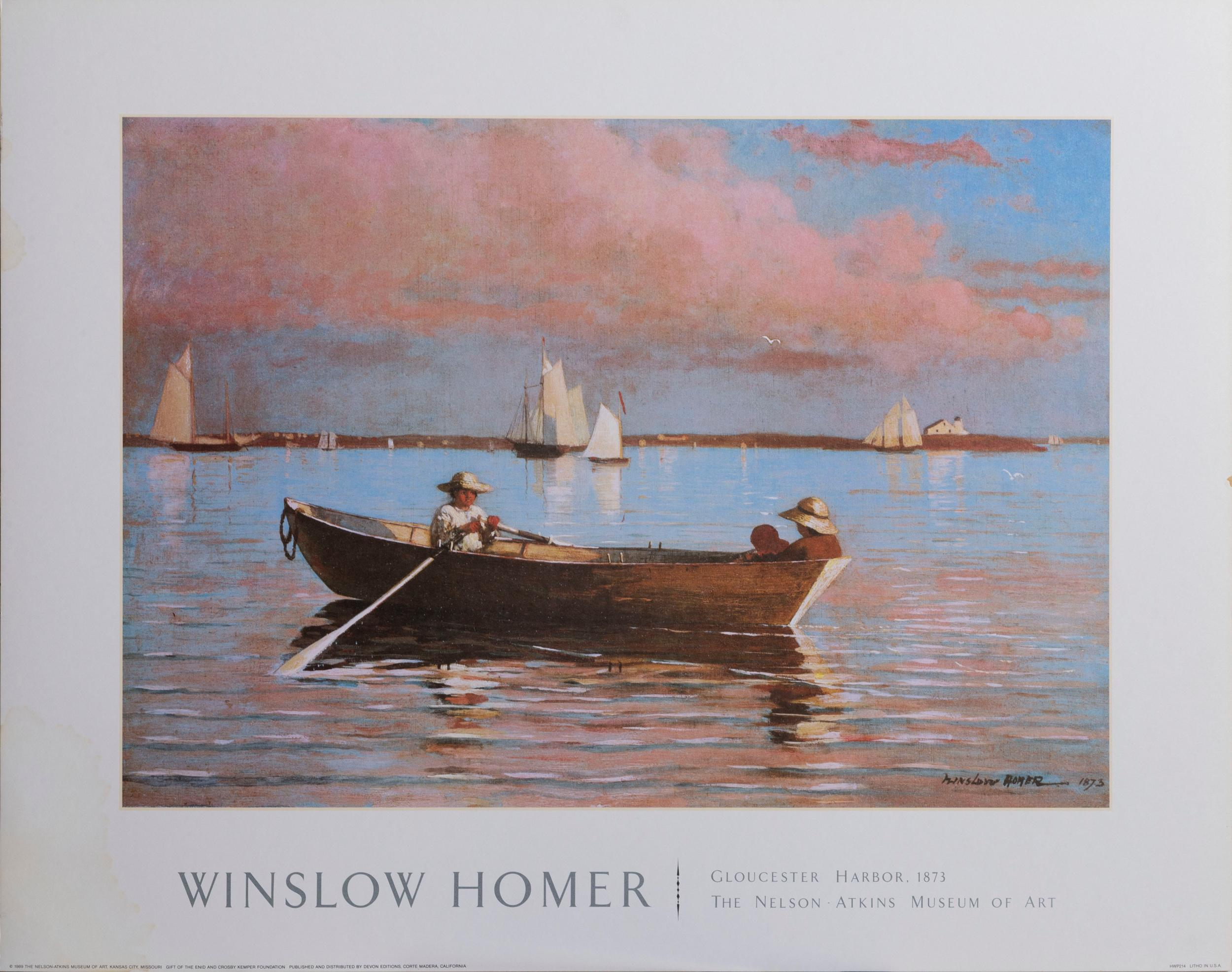 Winslow Homer, Gloucester Harbor, Poster on board