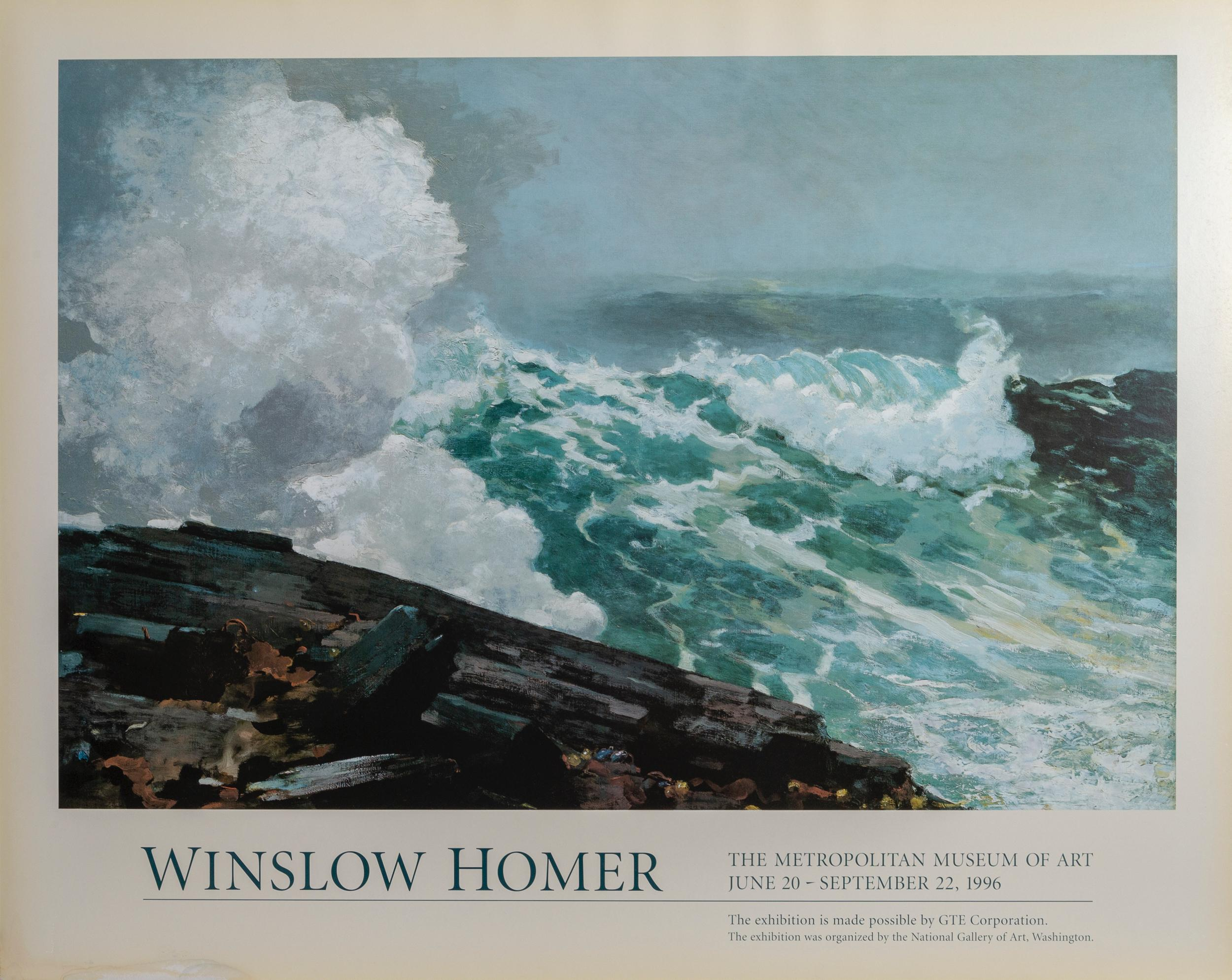 Winslow Homer, The Metropolitan Museum of Art - Breaking Waves, Poster on foamcore