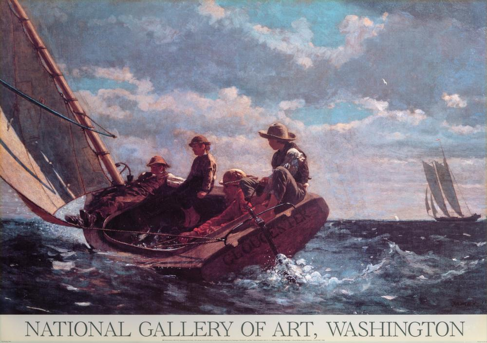 Winslow Homer, National Gallery of Art - Breezing Up (A Fair Wind), Poster mounted on board