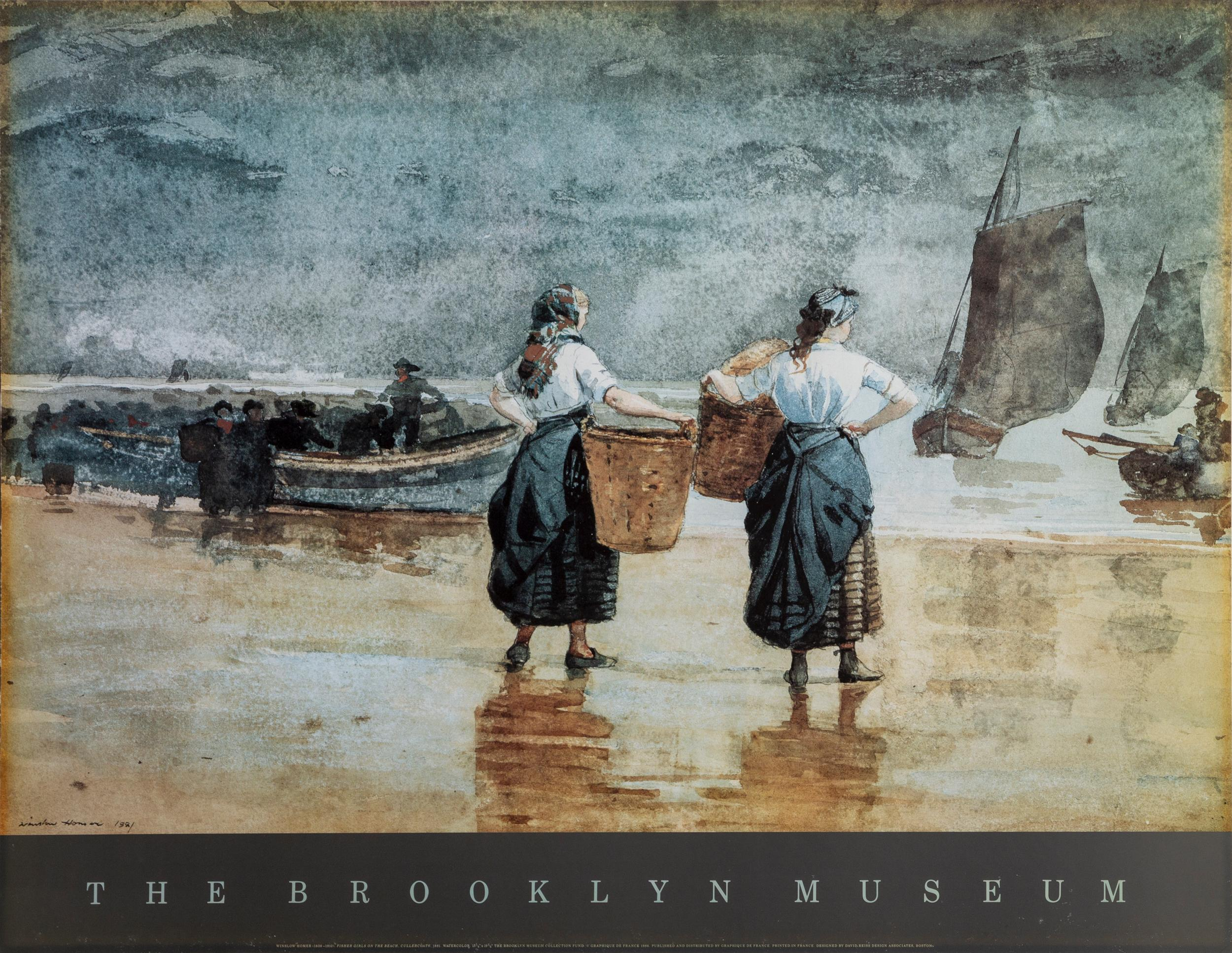 Winslow Homer, The Brooklyn Museum - Fisher Girls, Poster mounted on board