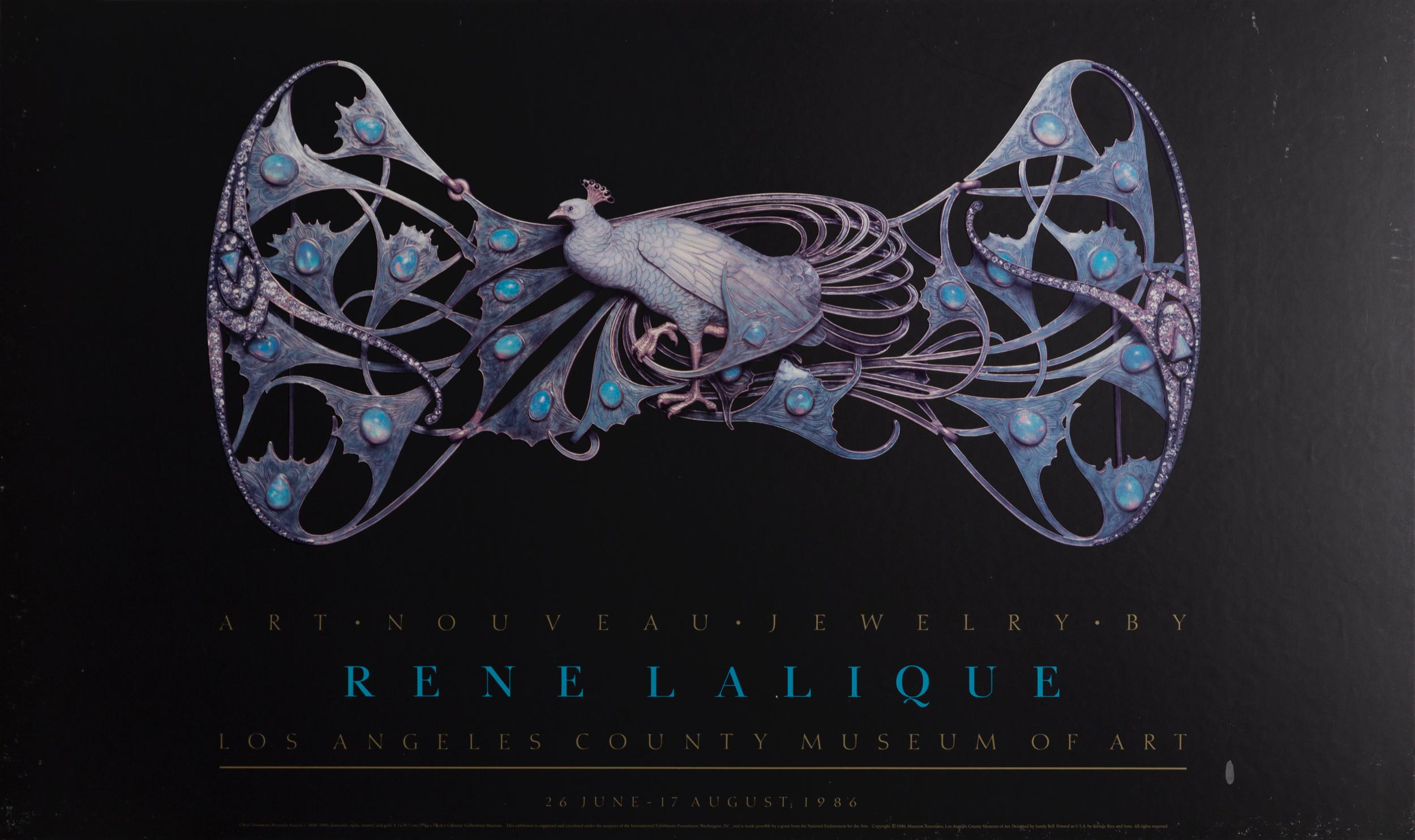 Rene Lalique, Chest Ornament, Pectoral Peacock, Poster on board
