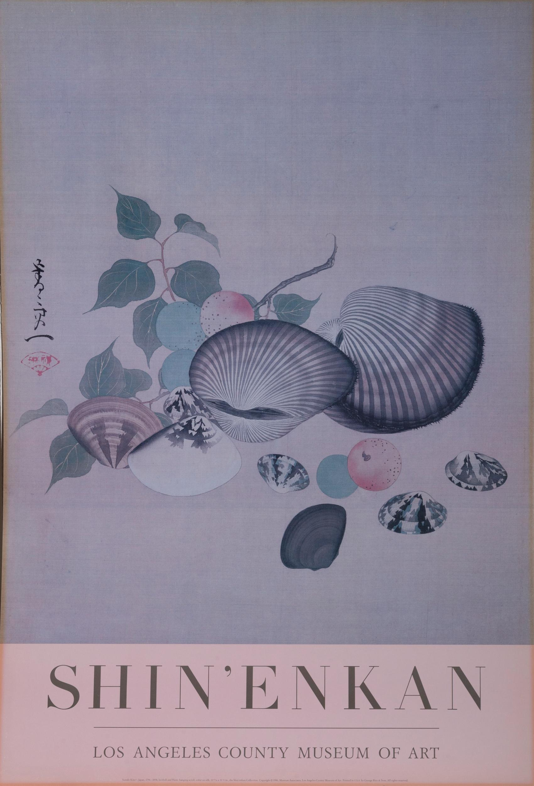 Suzuki Kiitsu, Seashells and Plums, Poster on board