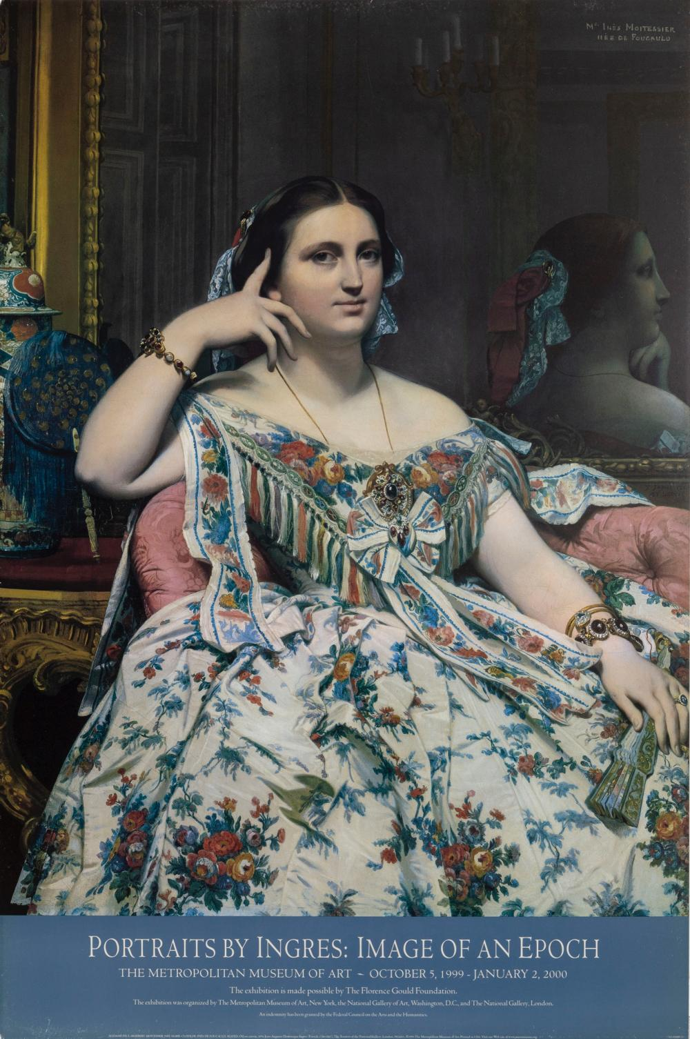 Jean-Auguste-Dominique Ingres, Portrait of Madame Moitessier, Poster on foamcore