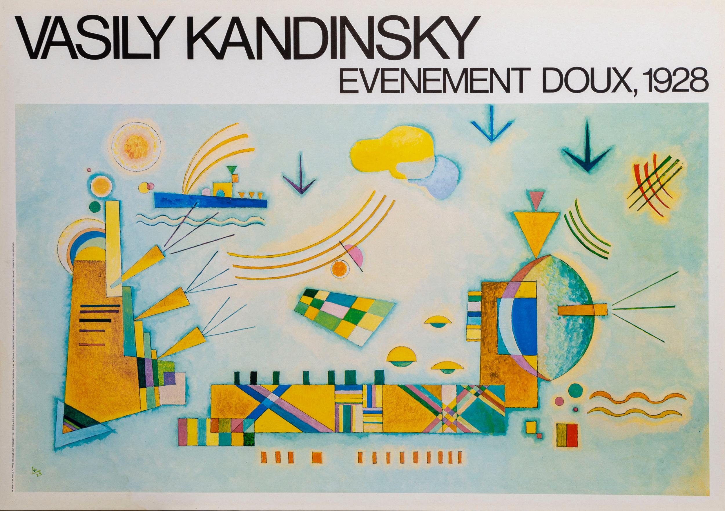 Wassily Kandinsky, Evenment Doux 1928, Poster on board