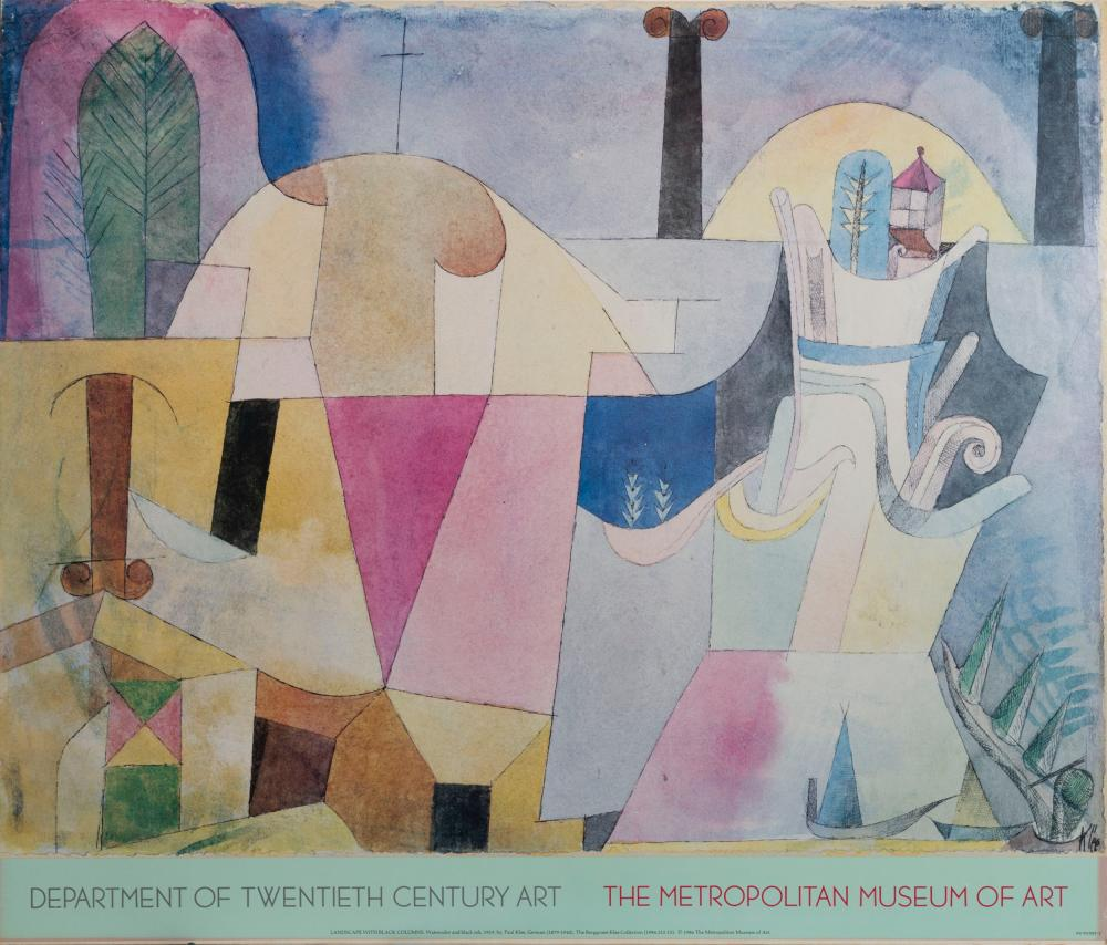 Paul Klee, Landscape with Black Columns, Poster on board