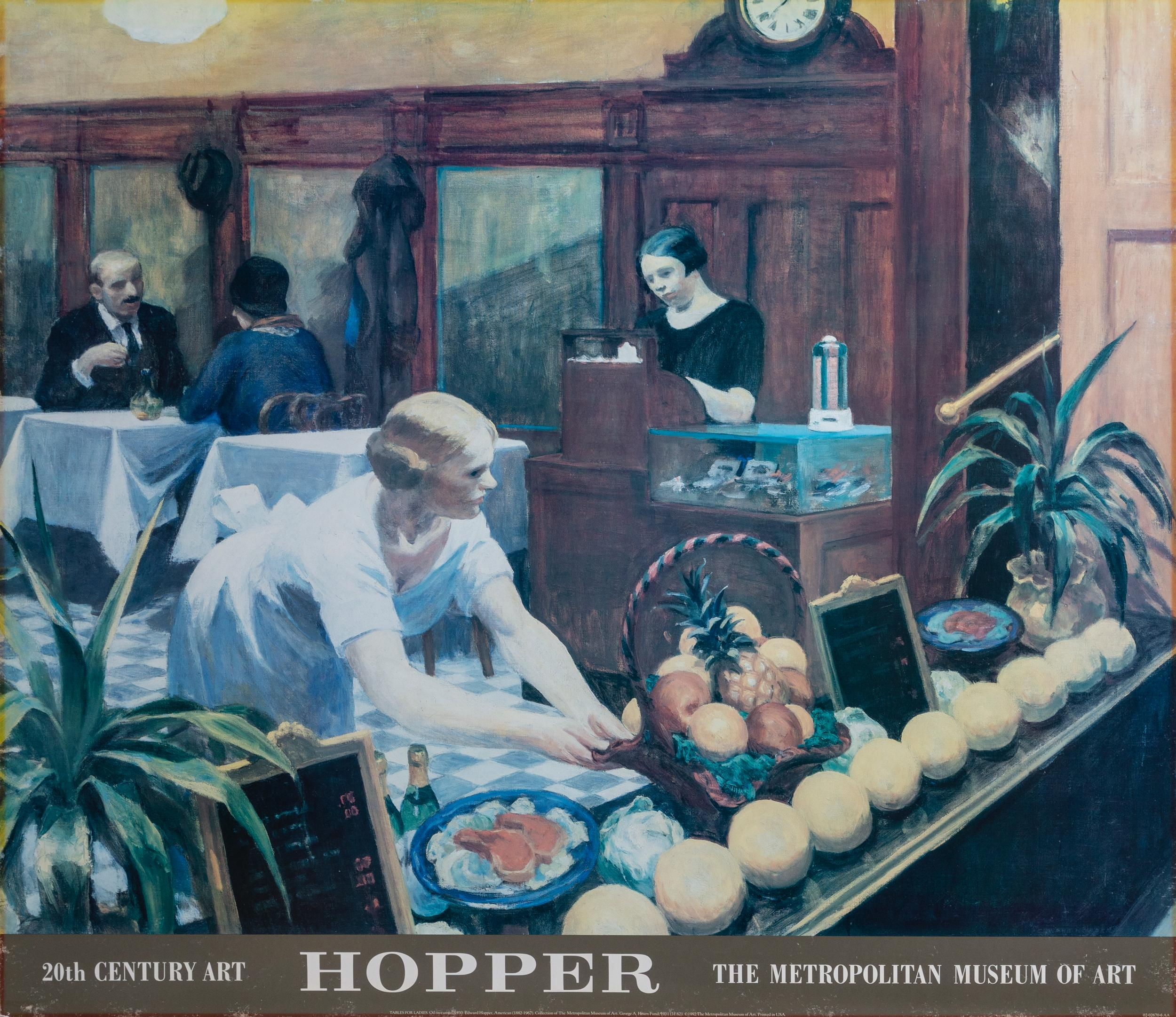 Edward Hopper, The Metropolitan Museum of Art - Tables for Ladies, Poster on foamcore