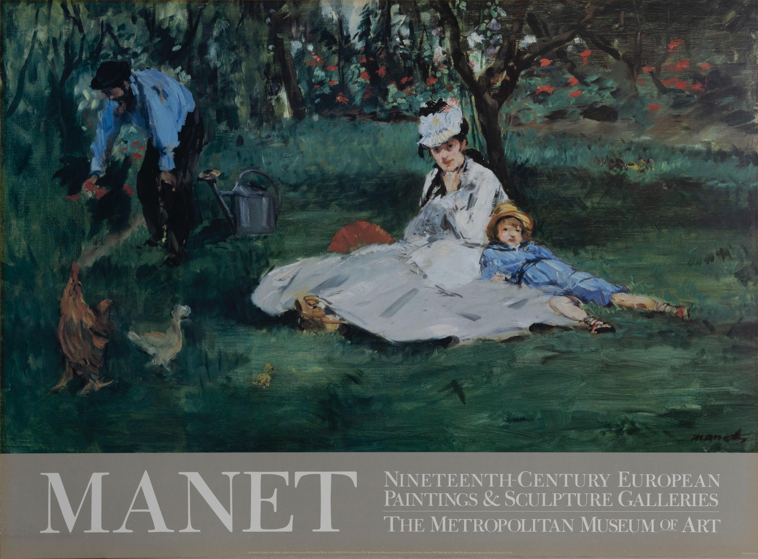 Edouard Manet, The Monet Family in Their Garden, Poster on board