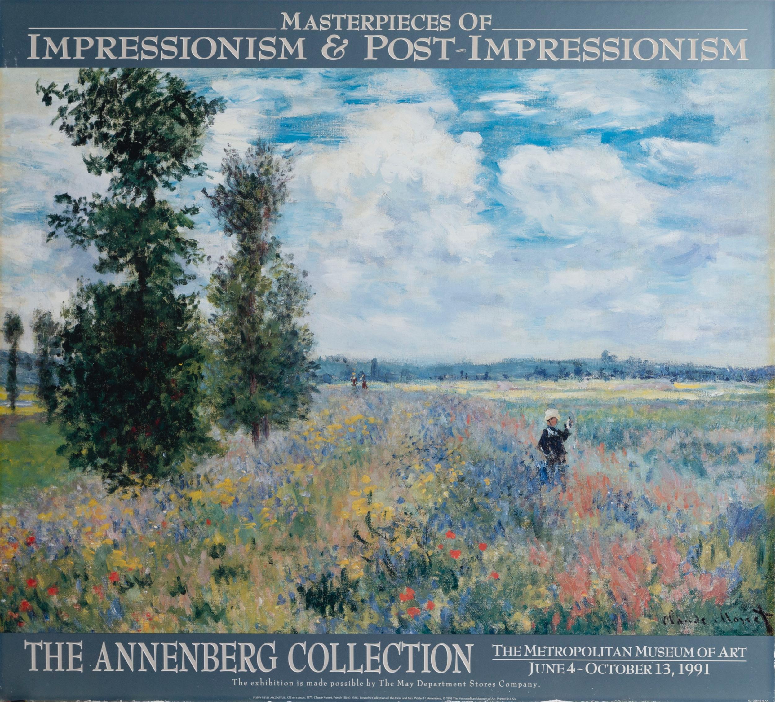 Claude Monet, Poppy Field, Argenteuil, Poster on board