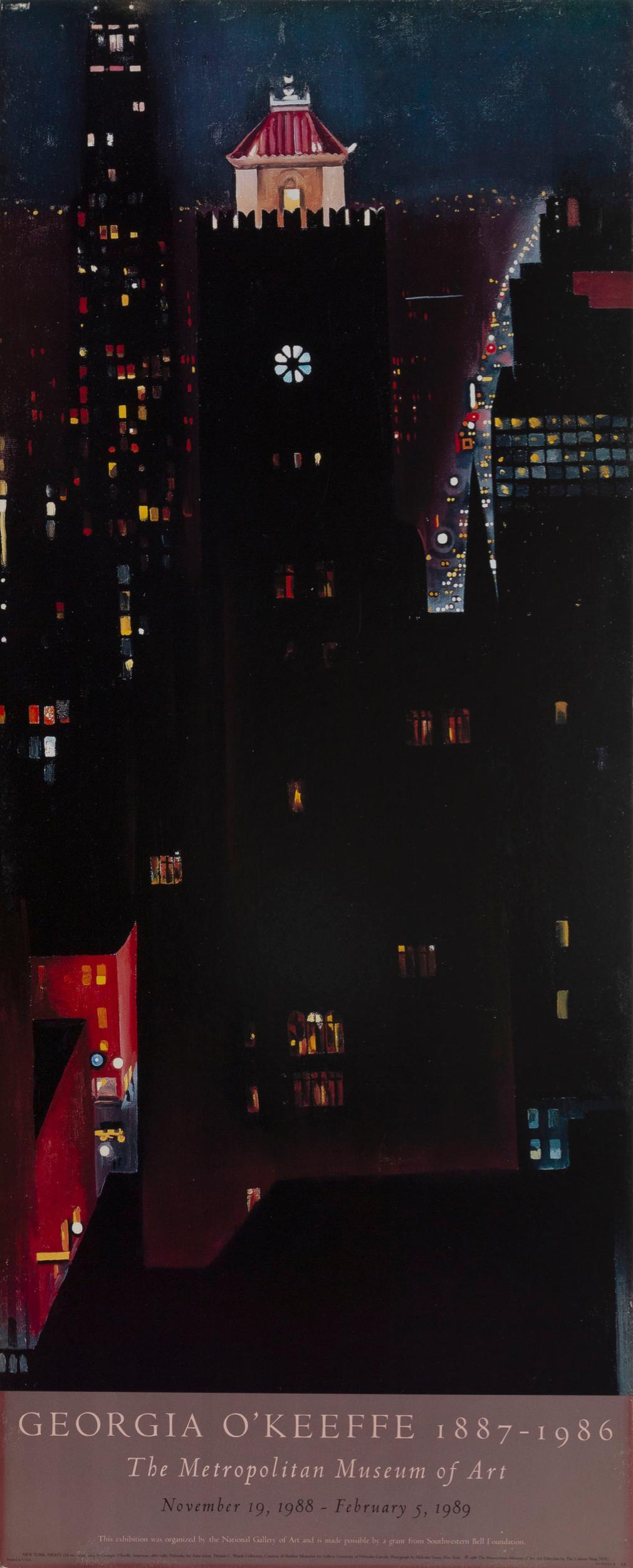 Georgia O'Keeffe, New York Night, Poster on foamcore
