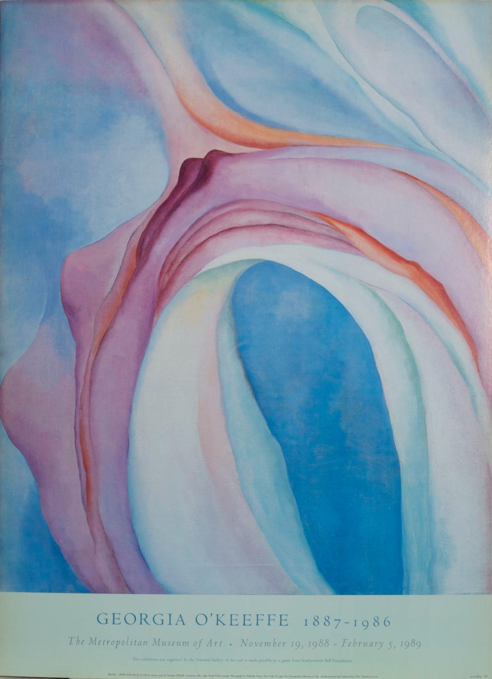 Georgia O'Keeffe, Music, Pink and Blue II, Poster on board