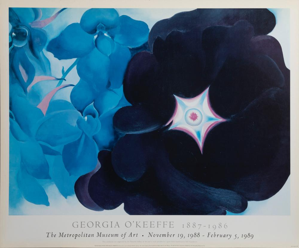 Georgia O'Keeffe, Black Hollyhock with Blue Larkspur, Poster on board