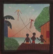 Rodolpho Tamanini Netto, Boys Flying Kites, Oil Painting