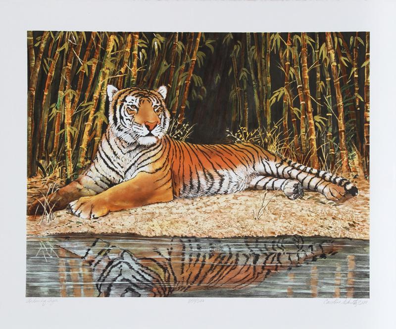 Caroline Schultz, Reclining Tiger, Lithograph