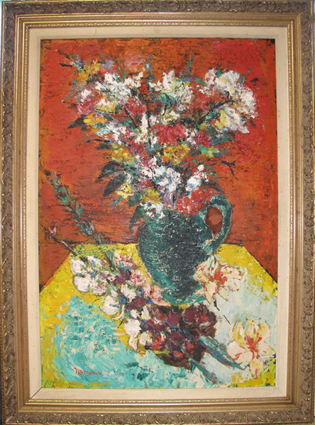 David Nemerov, Still Life with Vase of Flowers, Oil Painting