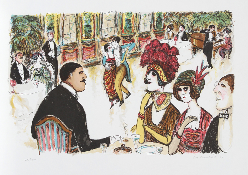 Edward Plunkett, Cafe with Tango Dancers, Lithograph