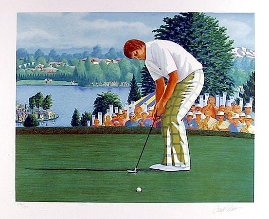 Donald Moss, Golfer on the Green, Lithograph