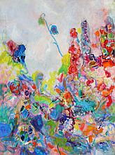 Isabel Gamerov, The Flower Garden, Oil Painting with Collage