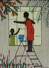 Rodolpho Tamanini Netto, Woman washing windows, Oil Painting