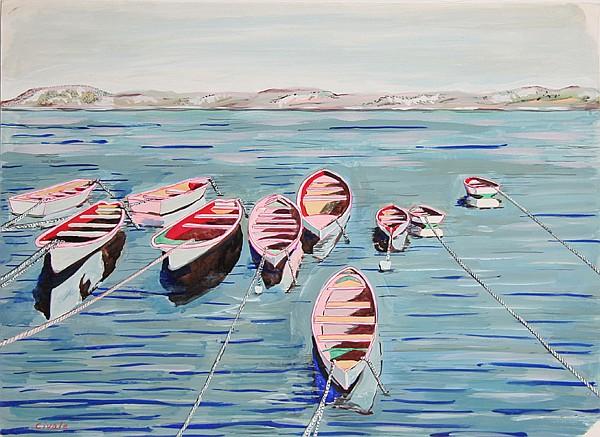 Biagio Civale, Row Boats, Acrylic Painting