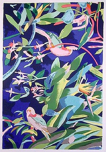 Linda Bastian, Tropical Birds, Lithograph